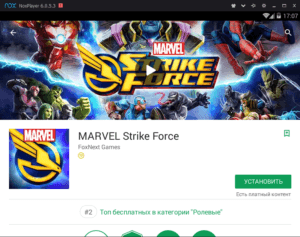 Установка Marvel Strike Force через Nox App Player