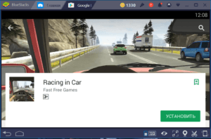 Установка Racing in Car на ПК через BlueStacks