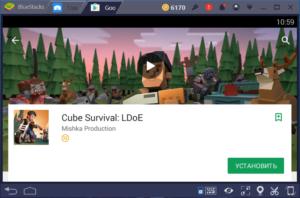 Установка Cube Survival LDoE на ПК через BlueStacks