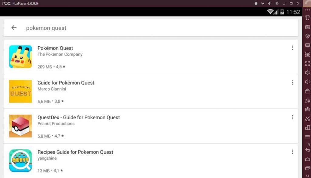 Установка Pokemon Quest на ПК через Nox App Player