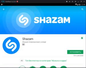 Установка Shazam на ПК через Nox App Player