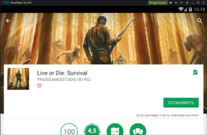 Установка Live of Die Survival на ПК через Nox App Player