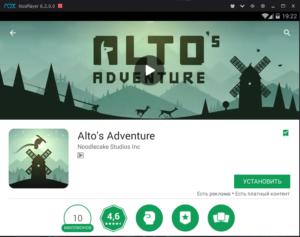 Установка Alto's Adventure на ПК через Nox App Player