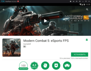 Установка Modern Combat 5 на ПК через Nox App Player