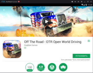 Установка Off the Road на ПК через Nox App Player