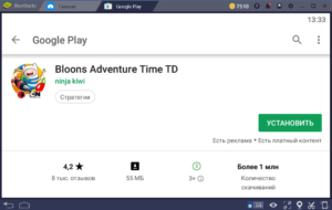 Установка Bloons Adventyre Time TD на ПК через BlueStacks