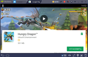 Установка Hungry Dragon на ПК через BlueStacks