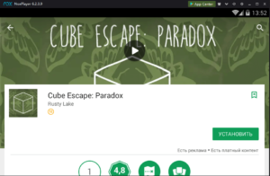 Установка Cube Escape Paradox на ПК через Nox App Player