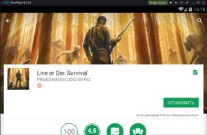 Установка Live of Die Survival на ПК через Nox App Player