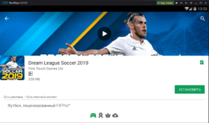 Установка Dream League Soccer 2019 на ПК через Nox App Player