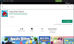 Установка Angry Birds Classic на ПК через Nox App Player