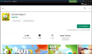 Установка Cut the Rope 2 на ПК через Nox App Player