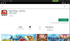 Установка Super Wings на ПК через Nox App Player
