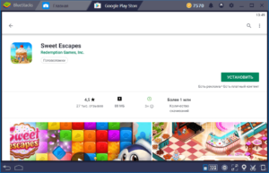 Установка Sweet Escapes на ПК через BlueStacks