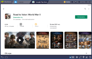 Установка Road to Valor World War II на ПК через BlueStacks