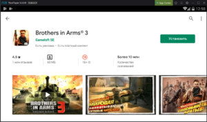 Установка Brothers in Arms 3 на ПК через Nox App Player