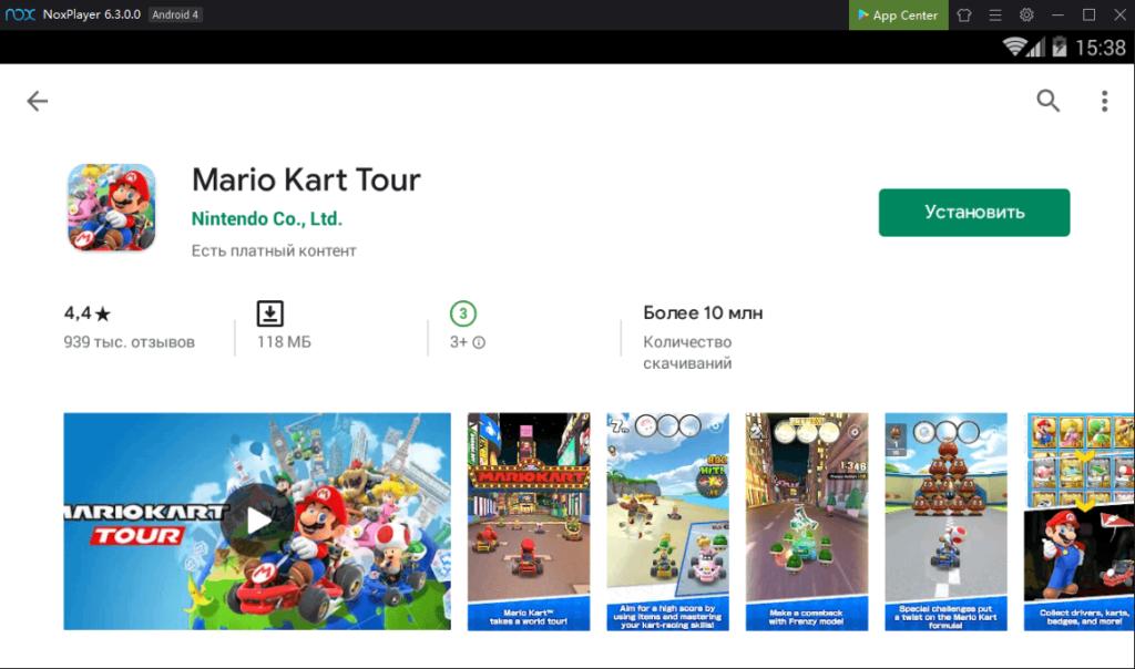 Установка Mario Kart Tour на ПК через Nox App Player