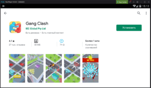 Установка Gang Clash на ПК через Nox App Player
