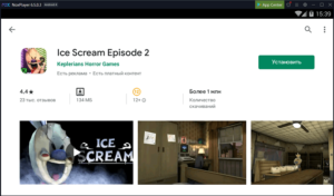 Установка Ice Scream Episode 2 на ПК через Nox App Player