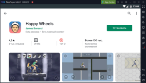 Установка Happy Wheels на ПК через Nox App Player