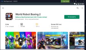 Установка World Robot Boxing 2 на ПК через Nox App Player