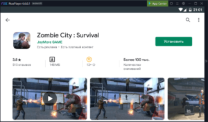 Установка Zombie City Survival на ПК через Nox App Player
