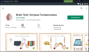 Установка Brain Test на ПК через Nox App Player
