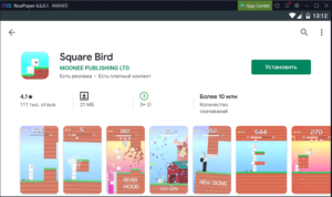 Установка Square Bird на ПК через Nox App Player