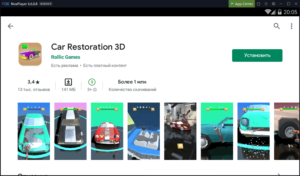 Установка Car Restoration 3D на ПК через Nox App Player