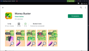 Установка Money Buster на ПК через Nox App Player