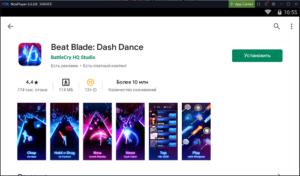Установка Beat Blade Dash Dance на ПК через Nox App Player