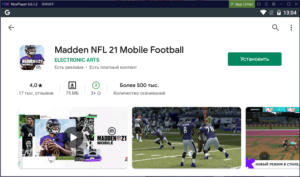 Установка Madden NFL 21 Mobile Football на ПК через Nox App Player