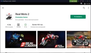 Установка Real Moto 2 на ПК через Nox App Player