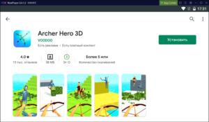 Установка Archer Hero 3D на ПК через Nox App Player