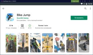 Установка Bike Jump на ПК через Nox App Player