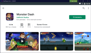 Установка Monster Dash на ПК через Nox App Player