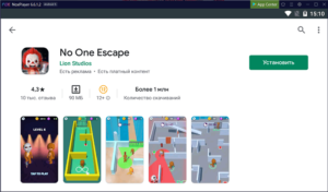 Установка No One Escape на ПК через Nox App Player