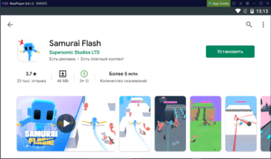 Установка Samurai Flash на ПК через Nox App Player