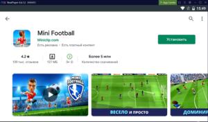 Установка Mini Football на ПК через Nox App Player