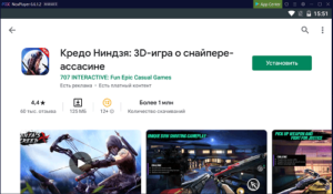 Установка Ninja's Creed на ПК через Nox App Player
