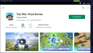 Установка Top War на ПК через Nox App Player