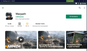 Установка Warpath на ПК через Nox App Player