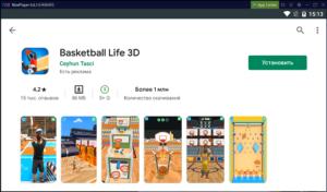 Установка Basketball File 3D на ПК через Nox App Player