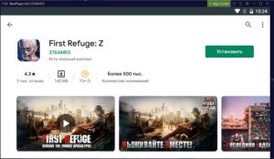 Установка First Refuge Z на ПК через Nox App Player